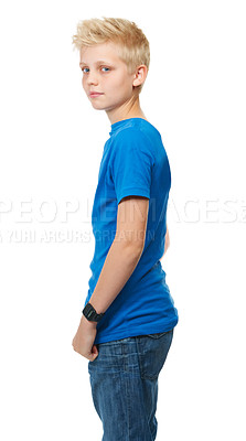 Buy stock photo Cropped studio portrait of a blond teenage boy against a white background