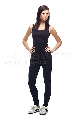 Buy stock photo Full body of a determined young woman in sportswear isolated on white