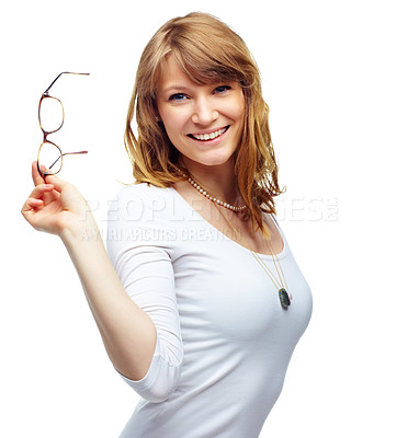 Buy stock photo Studio shot of a beautiful young woman taking off her glasses