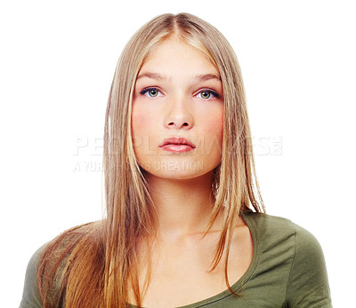 Buy stock photo A gorgeous teenage girl looking serious