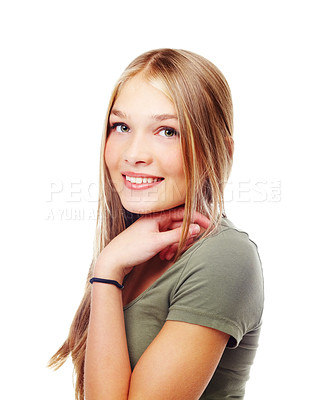 Buy stock photo A beautiful teenager smiling at the camera