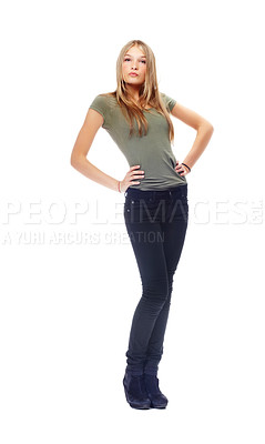 Buy stock photo A gorgeous teenager posing against a white background