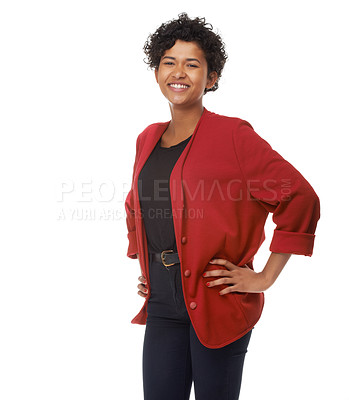 Buy stock photo A gorgeous young woman standing with her hands on her hips