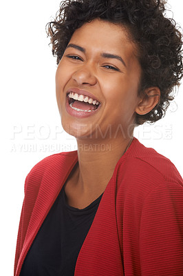 Buy stock photo A gorgeous young woman laughing at the camera