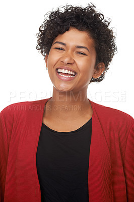 Buy stock photo Portrait of a gorgeous young woman laughing