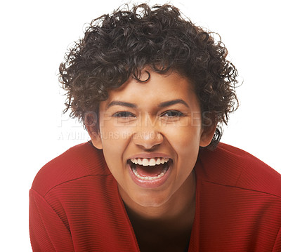 Buy stock photo Portrait of a young woman laughing