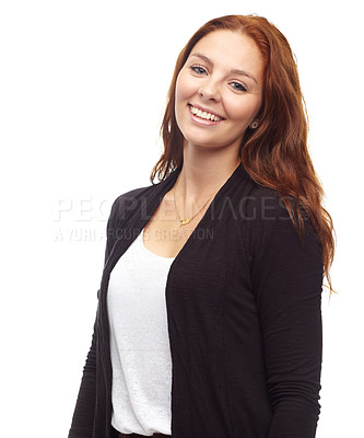 Buy stock photo Portrait of a smiling redhead