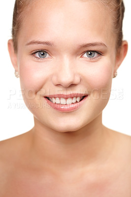 Buy stock photo Cropped portrait of a smiling teenage girl