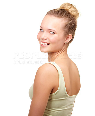 Buy stock photo Portrait of a pretty teenage girl looking over her shoulder at the camera