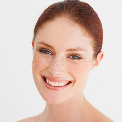 Buy stock photo Portrait of a young woman smiling naturally