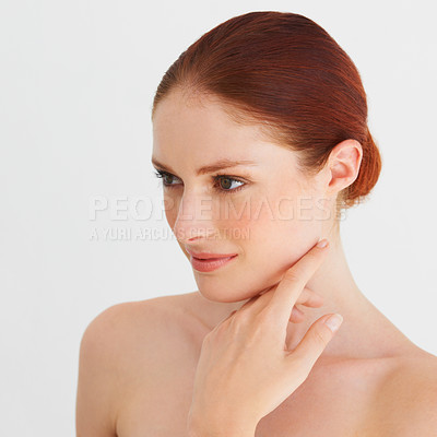 Buy stock photo Portrait of a woman averting her eyes