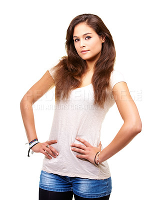Buy stock photo Portrait of a gorgeous young brunette posing in studio