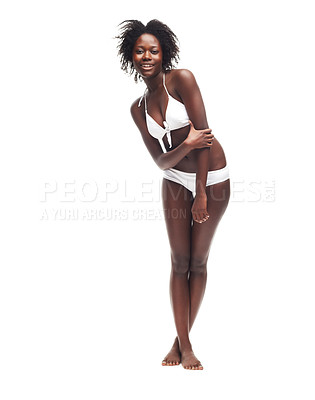 Buy stock photo A beautiful young woman in a white bikini posing against a white background