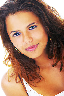 Buy stock photo Portrait of a beautiful young hispanic model, taken in our studio.