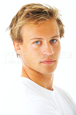 Buy stock photo Studio shot of a young man isolated on white