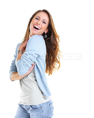 Buy stock photo Portrait of an excited young woman standing against white background