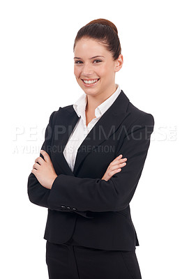 Buy stock photo Studio portrait of a positive-looking young business woman with her arms folded isolated on white
