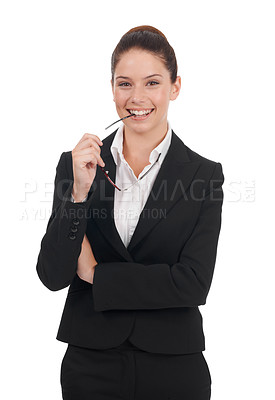 Buy stock photo Studio portrait of a positive-looking young business woman isolated on white