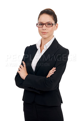 Buy stock photo Studio portrait of a confident-looking business woman isolated on white