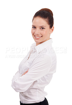 Buy stock photo Studio shot of an attractive young woman standing with her arms folded isolated on white