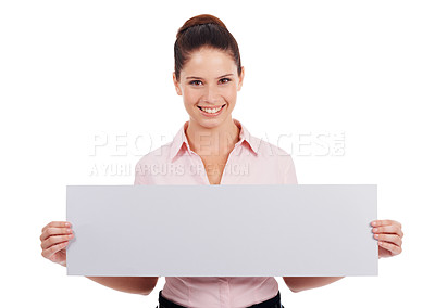 Buy stock photo Shot of a young women holding up a blank banner isolated on white