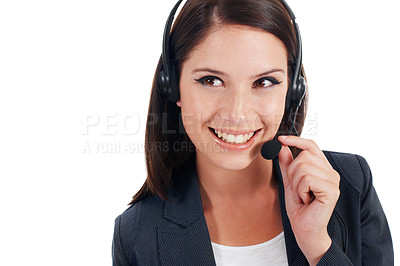 Buy stock photo Closeup studio shot of a young businesswoman talking on a headset isolated on white