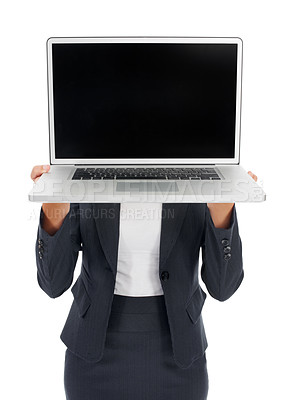 Buy stock photo Shot of a young businesswomen holding a laptop in front of her face isolated on white