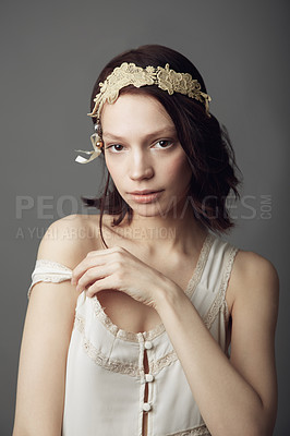 Buy stock photo Portrait of a beautiful young woman wearing vintage clothing