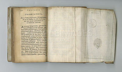 Buy stock photo An old medical book with its pages on display