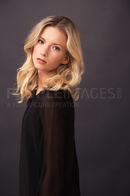 Buy stock photo A gorgeous blonde model posing in studio