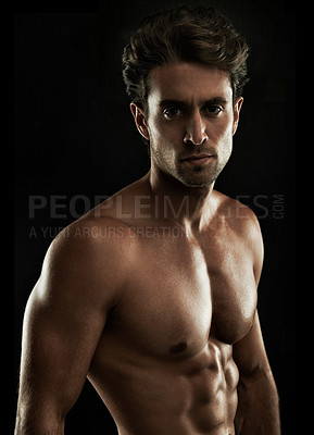Buy stock photo Portrait of a defined young man with ripped abdominal