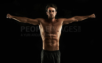 Buy stock photo Muscular man raising his arms with his fists clenched - Isolated on white
