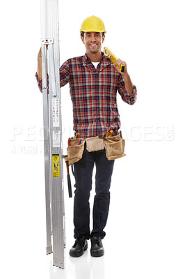 Buy stock photo Shot of a handyman holding his ladder