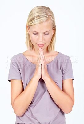 Buy stock photo Young woman isolated on white praying