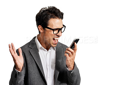 Buy stock photo A handsome young man shouting into his cellphone