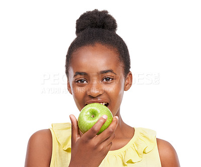 Buy stock photo Portrait of a young african american girl eating an apple isolated on white