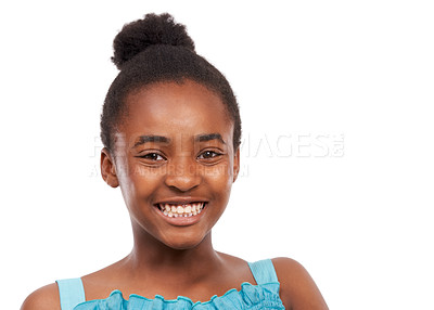 Buy stock photo Head and shoulders studio portrait of a happy-looking young african american girl isolated on white