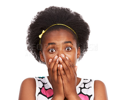 Buy stock photo Studio shot of a shocked-looking young african american girl with her hands over her mouth isolated on white