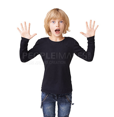 Buy stock photo Portrait of a pretty little girl standing with hands raised in the air and an expression of shock on her face against a white background