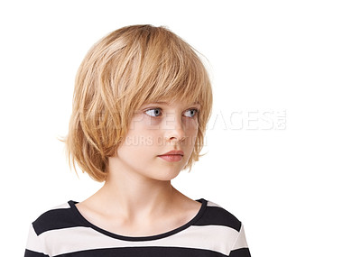 Buy stock photo Head and shoulder shot of a pretty little girl standing against a white background