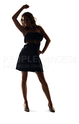 Buy stock photo Portrait of a beautiful young woman dancing against white background