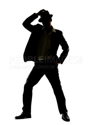 Buy stock photo Silhouette image of a young man dancing over a white background