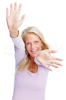 Buy stock photo Portrait of a cute young female gesturing with hands against white
