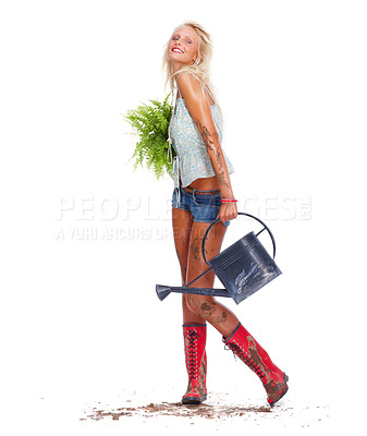 Buy stock photo Full length of a sexy gardener posing over white background