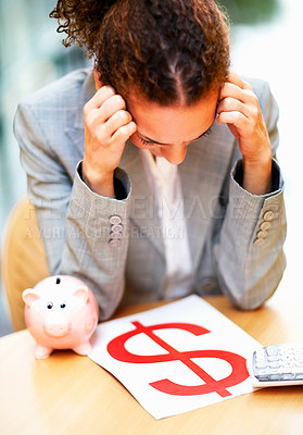 Buy stock photo Young African American business woman worried about her financial savings