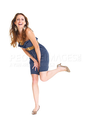 Buy stock photo Portriat of a happy young woman laughing against white background