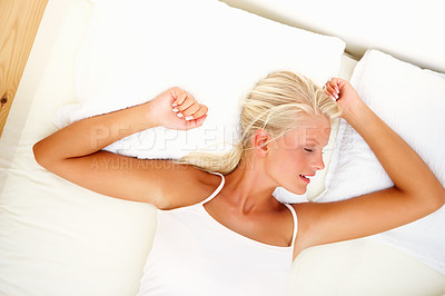 Buy stock photo Top view of beautiful young woman sleeping peacefully at home