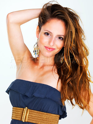 Buy stock photo Portrait of a sexy young woman posing on white background