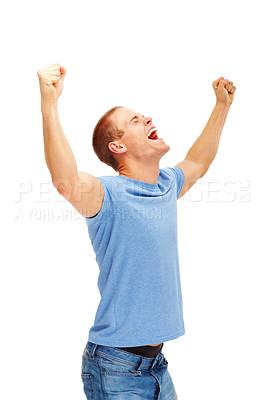Buy stock photo Casual man looking very happy with his arms up, isolated on white background
