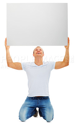 Buy stock photo Portrait of a happy male holding up blank white card